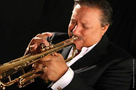 Famed musician Arturo Sandoval wowed the Dodd Auditorium audience with two pieces, one performed on a trumpet and the other on a flugelhorn.