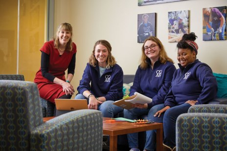Pictured from left are Sarah Dewees, associate director of the Center for Community Engagement; Carleigh Rahn '22, who manages COAR's internship program; Taylor Coleman '23, who manages special projects; and Tamara McAllister '20, a COAR intern. (Adam Ewing)