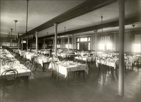 The original entryway, shown here circa 1915, served as a dining hall.
