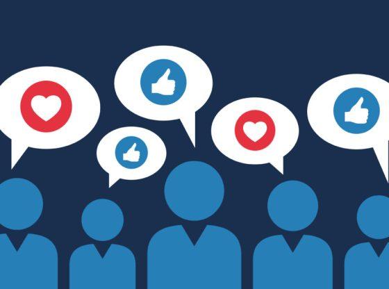 L'immagine mostra delle figure che esprimono giudizi sui social