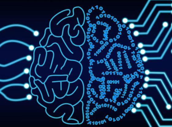 L'immagine mostra un cervello formato parzialmente da numeri binari