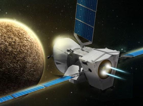 L'immagine mostra una sonda in viaggio verso un pianeta