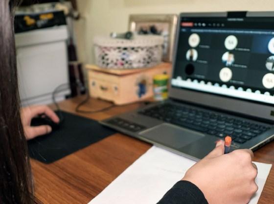 La foto mostra una persona che lavora al PC
