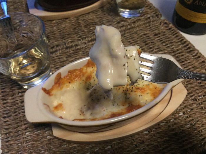 簡単チキングラタンで白ワイン!グラタン食べる