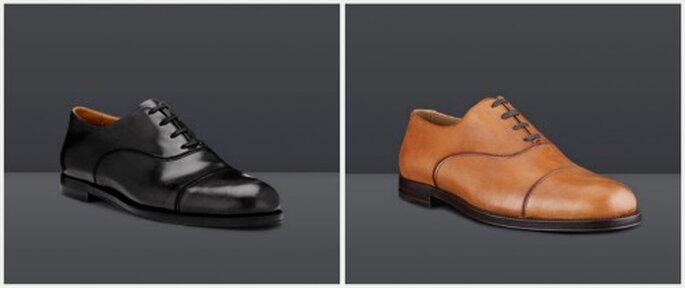 Zapatos Draycott en colores negro y coñac. Fotos: www.jimmychoo.com