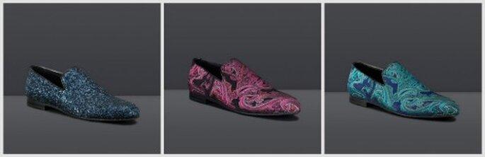 Zapatos Sloane en tela brillante y bordados en seda. Fotos: www.jimmychoo.com