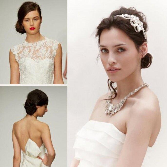 Peinado de lado para novias en el 2013 - Foto Facebook oficial de Amsale y Jenny Packham