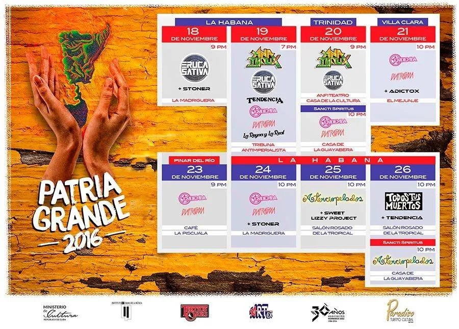 Poster of the participating bands in the 2016 edition of the Patria Grande festival. Photo: courtesy of the author.