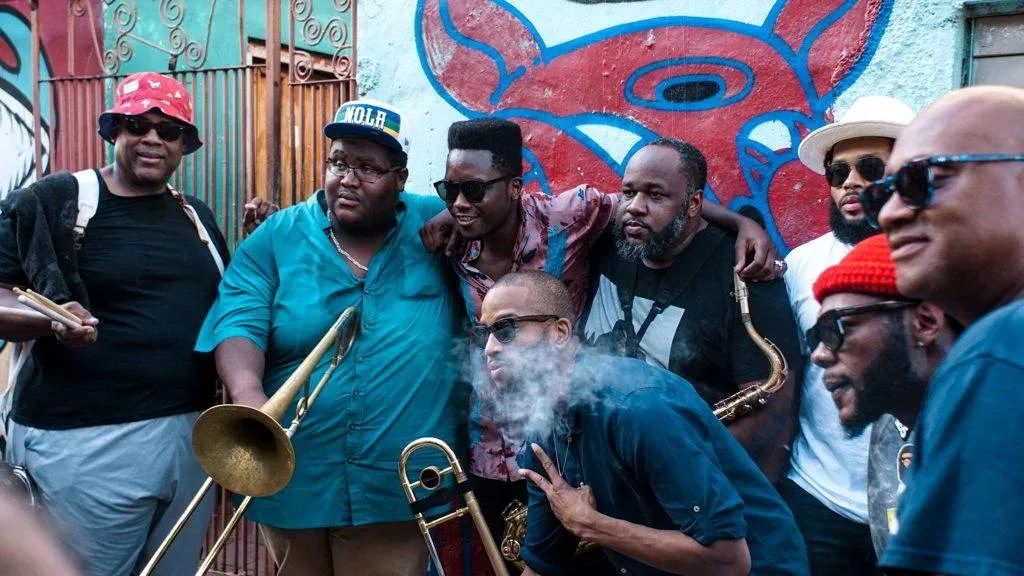 The Soul Rebels and Cimafunk during the Second Line Conga, during the Getting Funky in Havana event, at the International Jazz Plaza Festival 2020. Photo: Rolo Cabrera / Magazine AM:PM .