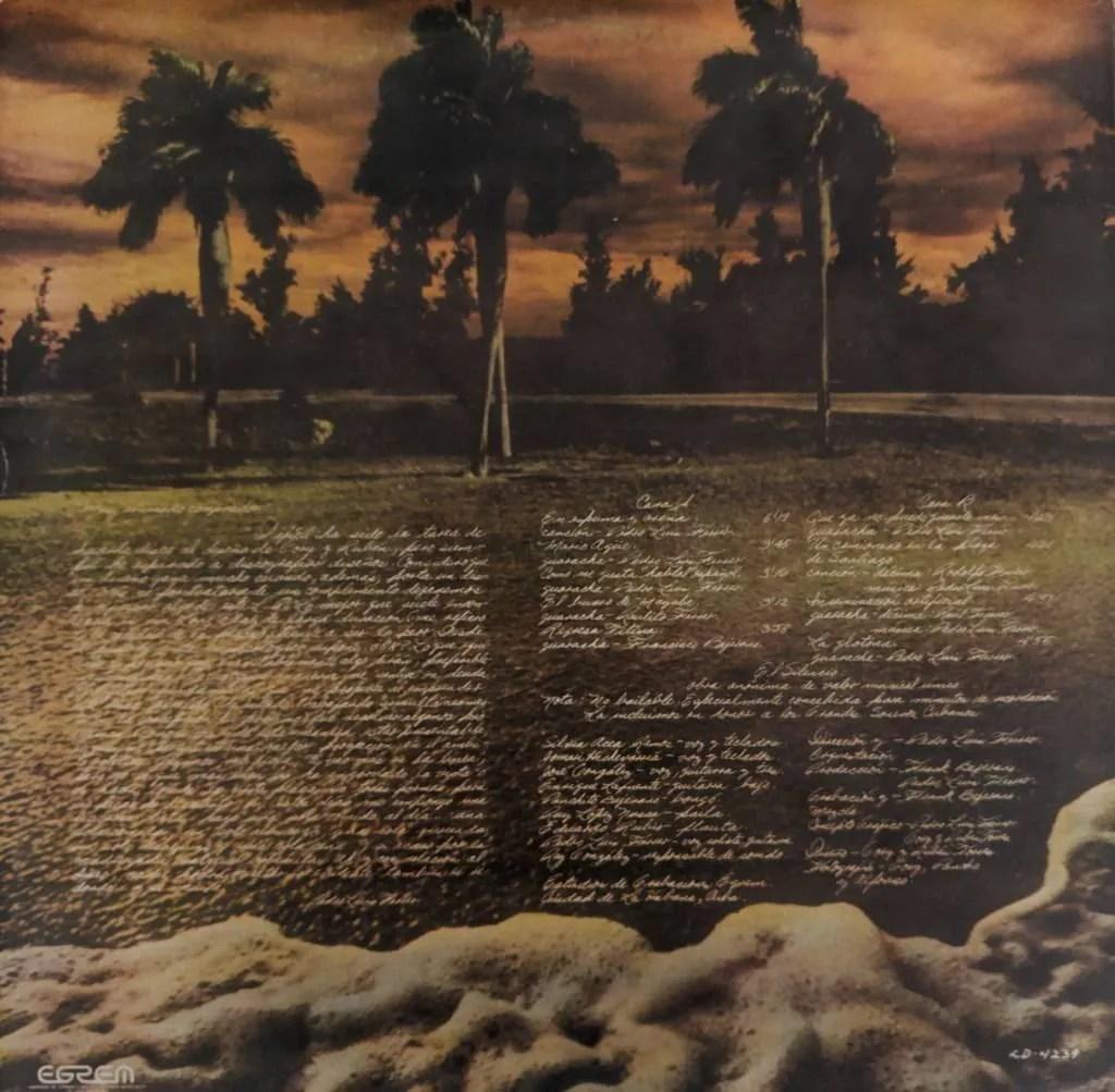 Reverso del álbum Espuma y arena, de Pedro Luis Ferrer. Diseño: Gory y Rubén Torres