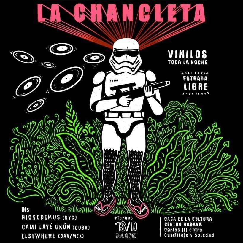 Cartel promocional de una de las fiestas. Diseño: Darién Sánchez.