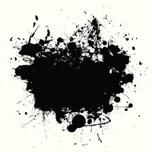 abstract black ink splat design with room to add your own copy