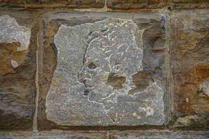 Ritratto scolpito da Michelangelo Buonarroti sulla facciata di Palazzo