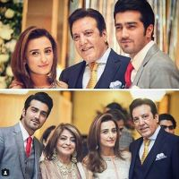Javed Sheikh with his wife, son & daughter at a family wedding (1)
