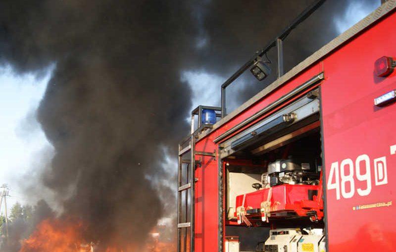 Pożar magazynu w Goli