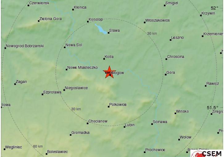 Silny wstrząs w rejonie Głogowa