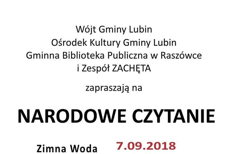 Narodowe Czytanie 2018 w miejscowościach Obora i Zimna Woda