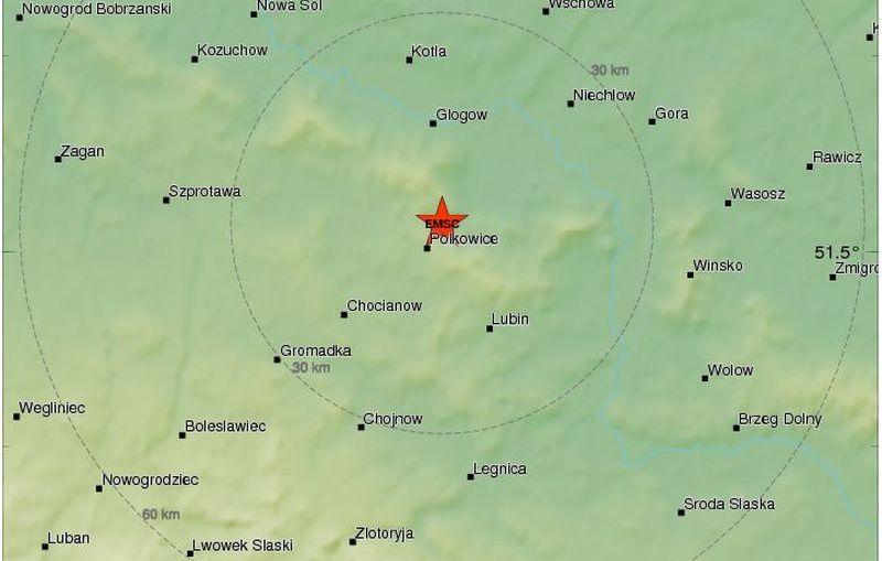 Bardzo silny wstrząs w rejonie Polkowic.
