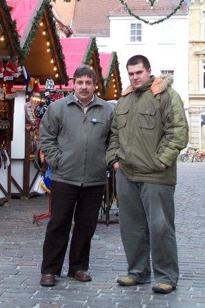 Pan Grzegorz i jego syn Robert podczas wyjazdu na targi we Frankfurcie