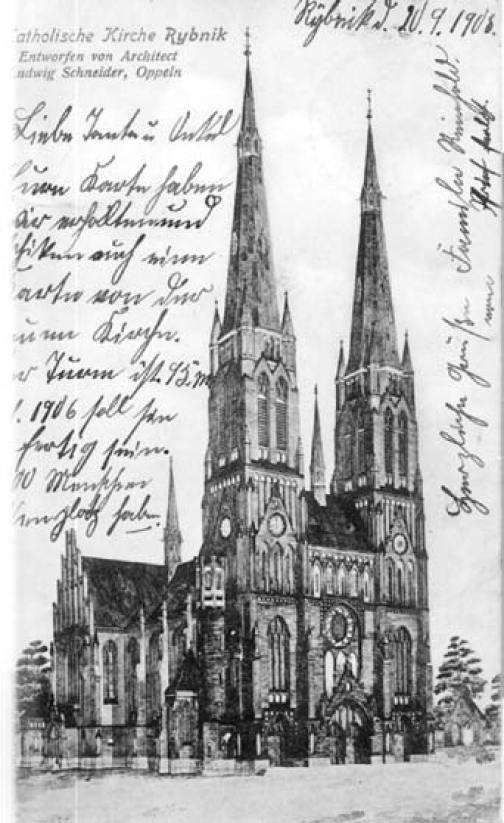 Na pocztówce widać wzmiankę o architekcie bazyliki