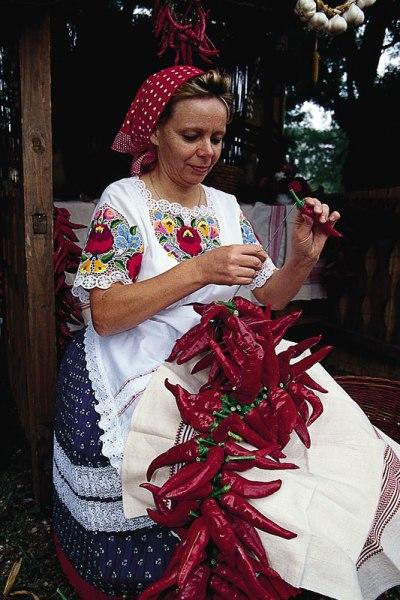 Kalocsa. Nizanie papryki na sznurki, fot. Paweł Wroński