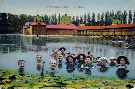 Kuracjusze w wodach Gyógy-tó (fot. archiwalne z witryny ośrodka)