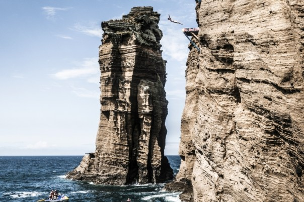 Andy Jones of the USA dives from the 20 metre platform during an open training day prior to the fifth stop of the Red Bull Cliff Diving World Series, Islet Franco do Campo, Azores, Portugal on July 15th 2015.