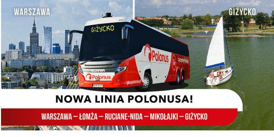 Polonus otwiera nową linię na Mazury – Warszawa-Łomża-Ruciane Nida-Mikołajki-Giżycko już od 15 zł