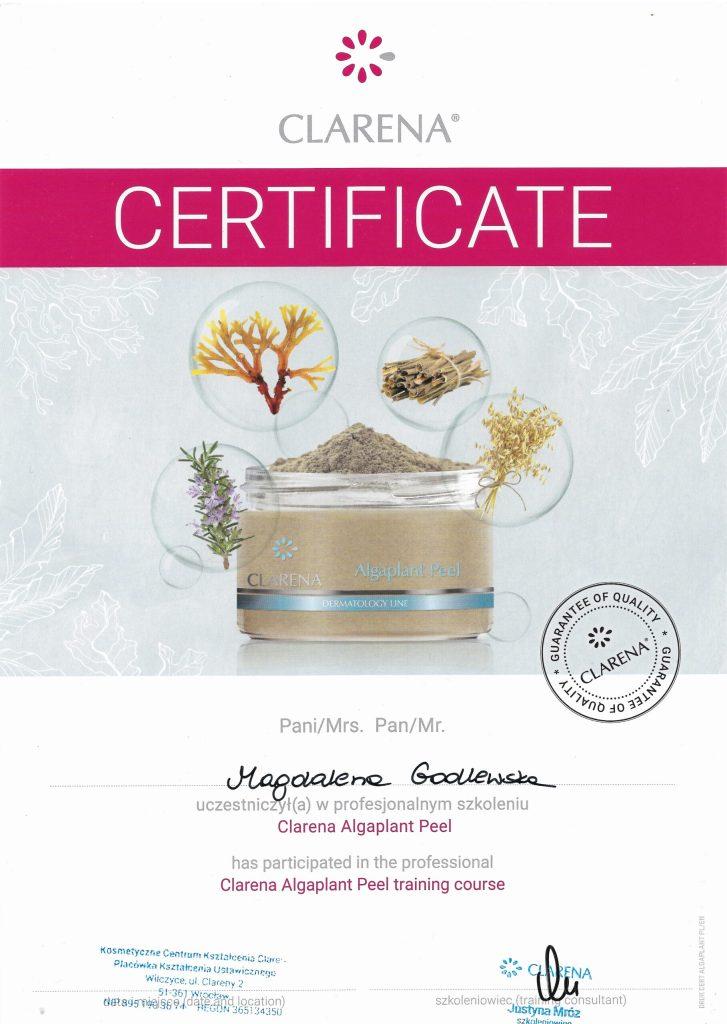 Clarena certyfikat