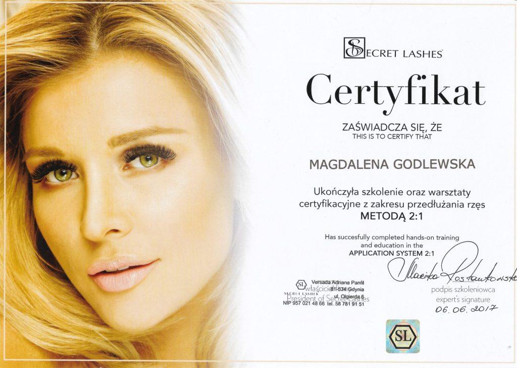 Secret lashes certyfikat