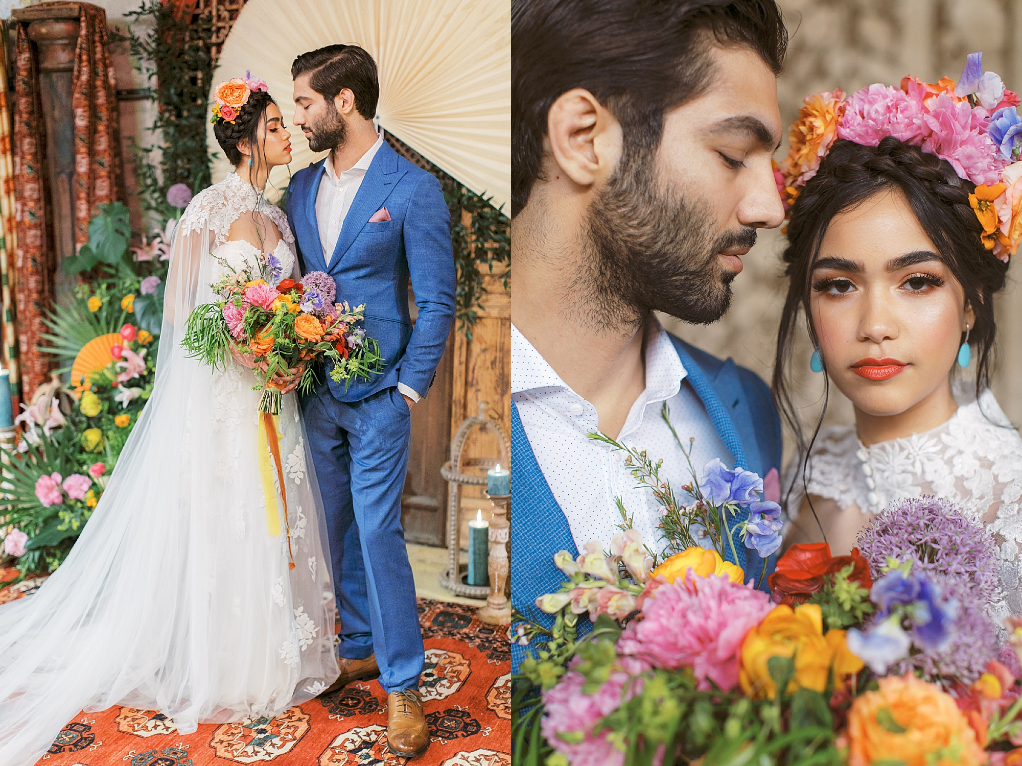 Vibrant and Colorful Frida Kahlo Inspired Wedding Photography by Magdalena Studios 0036