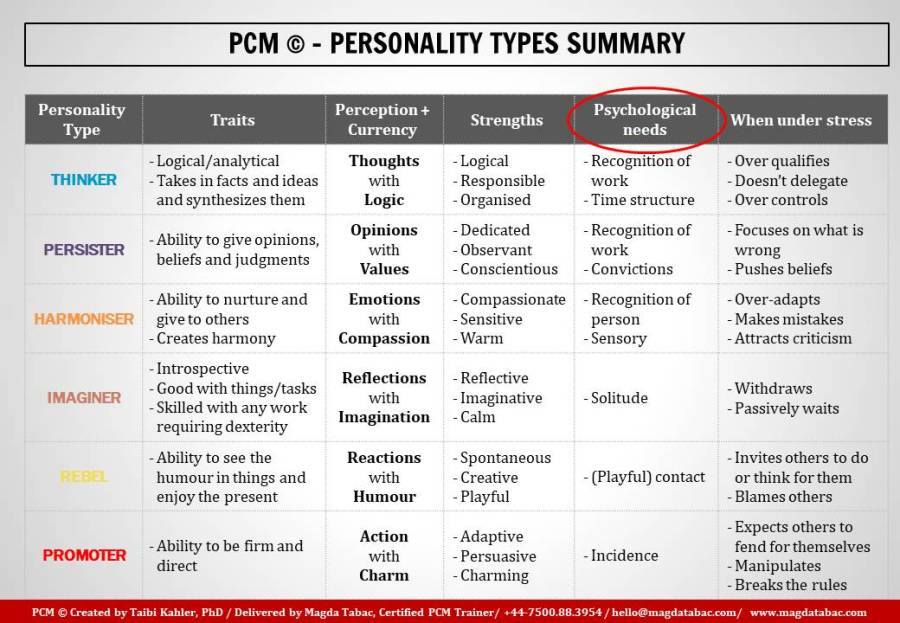 PCM; Process Communication Model; PCM Personality Types; Base Personality; Phase Personality; Magda Tabac; PCM certified trainer London; trainer; best PCM trainer in London;