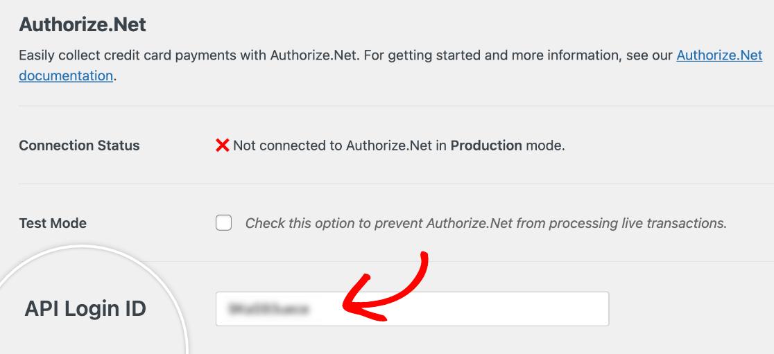 Add API login id