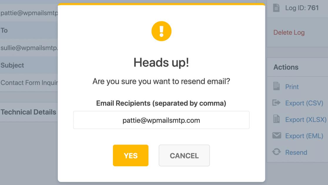 resend WordPress email