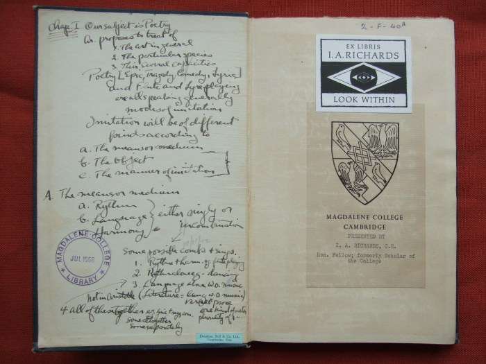 2.F.40A, The Poetics of Aristotle, edited with critical notes and a translation by S. H. Butcher (1920)