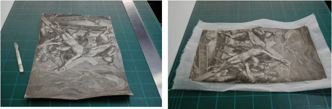 After the prints were dry, the excess tissue was trimmed with a scalpel and ruler.