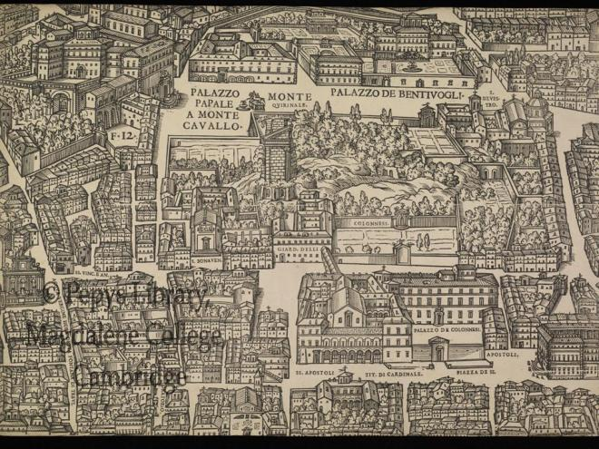 A leaf from the Pepys Library Map of Rome (PL 2990)