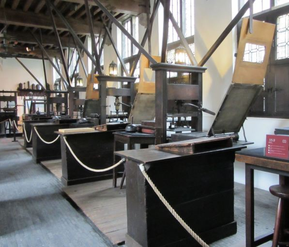 The original printing press room and equipment.  Photograph by Catherine Sutherland