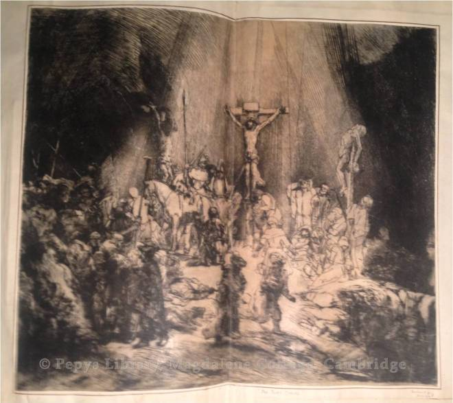 The Three Crosses,1653. Drypoint by Rembrandt printed on vellum. Rov 78 I, Hind 270 I, Münz 223 I, New Hollstein 290 I.