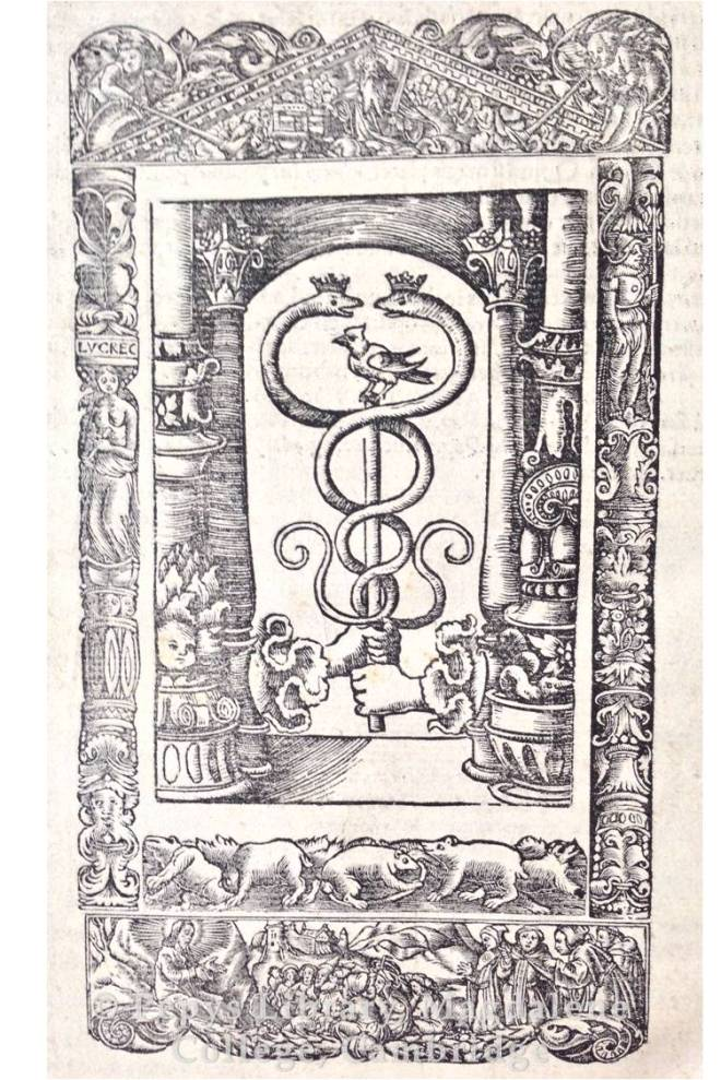 Printer's device at the rear of the text, designed by Hans Holbein the younger.
