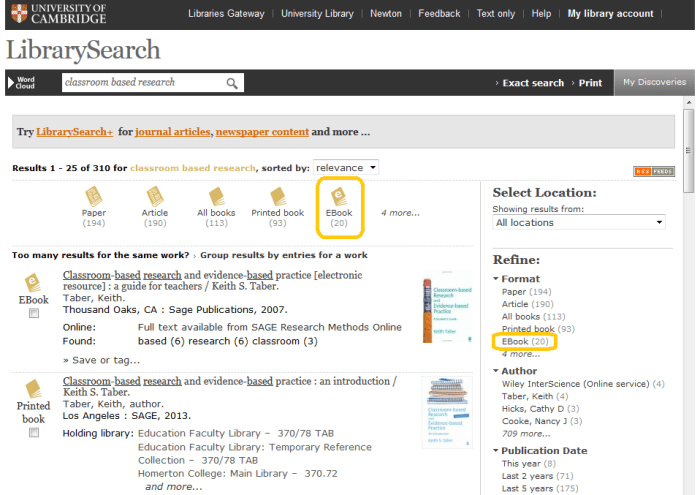 Finding e-books in LibrarySearch