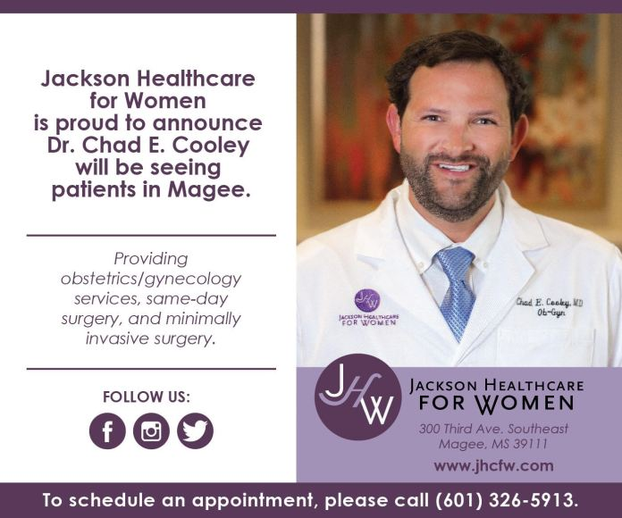 Dr. Chad E. Cooley will be seeing patients in Magee
