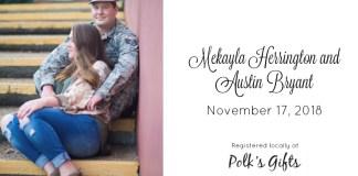 Mekayla Herrington and Austin Bryant   MageeNews.com Bridal Registry, sponsored by Polk's Gifts