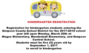 Simpson County School District Kindergarten Registration