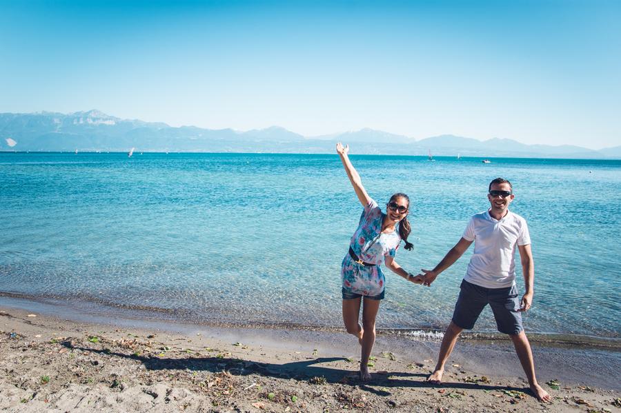Женевското езеро от Лозана, Швейцария
