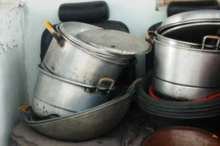"""Aluminum boiling and frying pans, or locally known as """"panci"""" and """"wajan""""."""