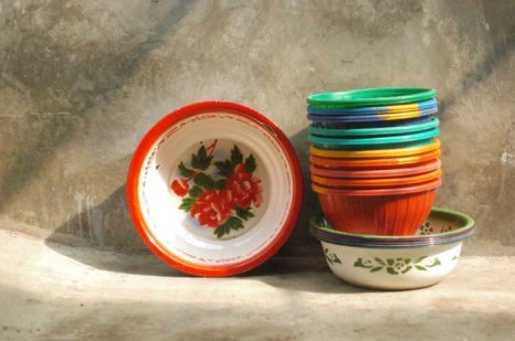 Colorful basins and rice baskets.