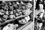 """A street vendor's """"kupat tahu"""" cart loaded ketupat and fermented tofu or bean curd, in Magelang, Central Java."""