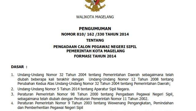 CPNS Pemerintah Kota Magelang Formasi Tahun 2014