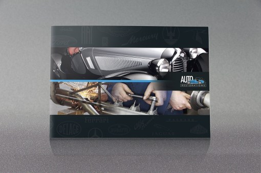 Front cover of Auto Restorations' capabilities brochure, highlighting the artistry and peerless quality of their work, and the skill and craftsmanship of the firm's employees, Promotional design and advertising, Photography, International classic car restoration
